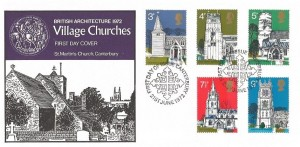 1972 Village Churches, St. Martin's Church Canterbury FDC, First Day of Issue Canterbury H/S
