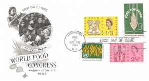 1963 Freedom From Hunger USA Issue, Artcraft FDC, First Day of Issue Washington DC Cancel + British stamps Issued in March 1963
