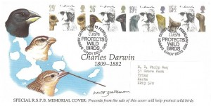 1982 Charles Darwin, Official RSPB Memorial FDC, RSPB Protects Wild Birds Darwin Centenary Sandy Beds.H/S. Signed by David Gentleman Stamp Designer