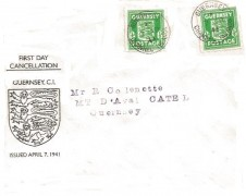 1941 Guernsey Arms ½d Green Pair, Guernsey Illustrated FDC, Guernsey Channel Islands cds