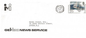 1967 Sir Francis Chichester, Gemini News Service FDC, The National Postal Museum London Chief Office EC1 Slogan