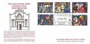 1992 Christmas, Official Salvation Army FDC, Christmas Greetings to all Mankind The Salvation Army Westminster London SW1 H/S