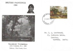 1968 British  Paintings, Pulteney West Country Cover FDC 1/9d John Turner stamp only, Salisbury FDI