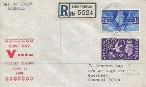 1946 Victory, Registered J.Stephen Airmail FDC, Birkenhead to Guernsey, Birkenhead Liverpool Oval cds