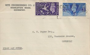 1946 Victory, Ritz Engineering Coventry FDC, Don't Waste Bread Others Need It Coventry Slogan