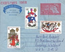 1968 Christmas, 9d Aerogramme Air letter, Watford Herts. FDI