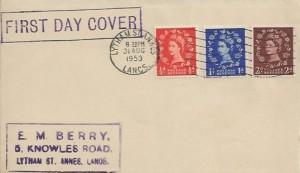 1953 QEII Definitive Issue ½d, 1d, 2d, E M Berry FDC, Lytham St.Annes Lancs Cancel