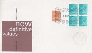 1980 QEII Definitive Issue ½p Phosphor Coated Paper Block of 4 +10p to make up Postage Rate, Windsor Berks. H/S+ Cachet