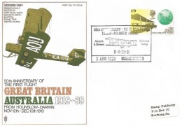 1969 Notable Anniversaries, Trident Vickers Vimy FDC, 1/9d First England Australia Flight stamp only, 50th Anniversary First Non Stop Trans-Atlantic Flight BAMS Manchester H/S