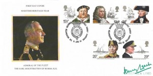 1982 Maritime Heritage, Stewart Petty Cover No.7 Official FDC, Mountbatten Memorial Trust Broadland Romsey Hampshire H/S. Signed by the First Sea Lord Henry Leach