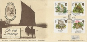 1986 Nature Conservation, Business Information Limited Official FDC, Life & Landscape on the Norfolk Broads Norwich Norfolk H/S