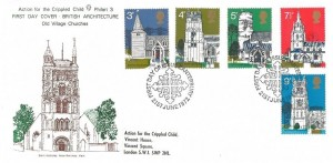1972 Village Churches, Philart Action for the Cripples Child St. Nicholas New Romney Kent FDC, First Day of Issue Canterbury H/S