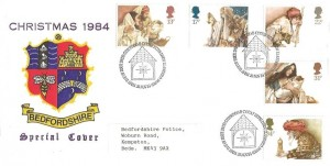 1984 Christmas, Bedfordshire Police Sports & Social Club FDC, First Day of Issue Bethlehem Llandeilo H/S
