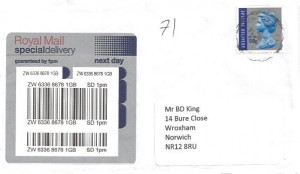 2010 Special Delivery up to 100 grams, Plain Special Delivery FDC, Norwich Norfolk cds