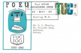 1968 British Anniversaries, Post Office Engineering Union Official FDC, 4d TUC Stamp only, Post Office Engineering Union 100000 Ealing W5 H/S