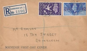 1946 Victory, Registered Souvenir First Day Cover, Registered Edinburgh cds