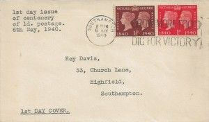 1940 Postage Stamp Centenary, Plain FDC, 1d & 1½d stamps only, Grow More Food Dig for Victory Southampton Slogan