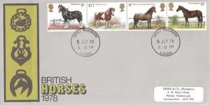 1978 Shire Horse Society, Green & Co (Philatelists) FDC, Market Harborough Leics. cds
