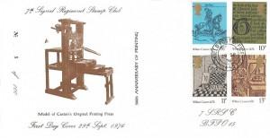 1976 William Caxton, 7th Signal Regiment Stamp Club FDC, Field Post Office 445 cds