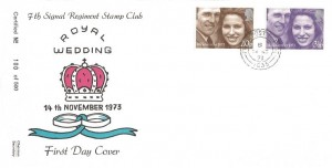 1973 Royal Wedding, 7th Signal Regiment Stamp Club FDC, Field Post Office 1035 cds