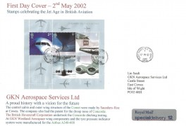 2002 Airliners Miniature Sheet + Stamps on back, Special Delivery GKN Aerospace Services Ltd FDC, East Cowes Isle of Wight cds