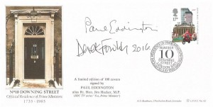 1985 The Royal Mail, Bradbury Official LFDC43 FDC, 17p stamp only, 10 Downing Street London SW1 H/S, Signed by Paul Eddington, and later in 2016 by Derek Fowlds