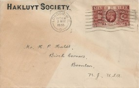 1935 King George V Silver Jubilee, Hakluyt Society Envelope FDC, 1½d stamp only, London WC Cancel