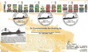 2001 Buses, Royal Naval Cover Group Official FDC, HMS /m Sickle Sinks German Uj2213  Built by Annell Laird Birkenhead Merseyside H/S, Signed
