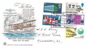 1969 Notable Anniversaries, Stuart FDC, 50th Anniversary First Non-Stop Trans Atlantic Flight BAMS Alcock & Brown Manchester H/S