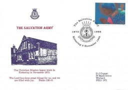1998 Christmas, D J Copper Official Salvation Army Small Version FDC, 26p stamp only, The Salvation Army Kettering 1972 - 1998 H/S