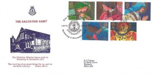 1998 Christmas, D J Copper Official Salvation Army Large Version FDC, The Salvation Army Kettering 1972 - 1998 H/S