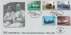 1998 Speed, Havering 150 Club Official FDC, St.Mary 8th Hendon Remembers with Pride Graham Hill World Champion Hendon London NW4 H/S