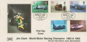 1998 Speed, Havering Official FDC, Jim Clark 1936 - 1968 World Motor Racing Champion 1963 & 1965 Duns Berwickshire H/S