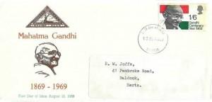 1969 Gandhi, North Herts, Stamp Club FDC, Bristol FDI.