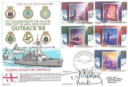 1988 Christmas Royal Navy Outback' 88 Coming Home for Christmas FDC, Christmas Greetings from the Members of the Guinea Pig Club British Force 2184 Postal Service H/S, Signed