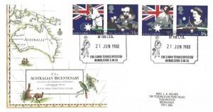 1988 Australian Bicentenary, Royal Mail FDC, The Lawn Tennis Museum Wimbledon SW19 H/S