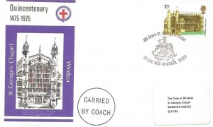 1975 Architecture, St. George's Chapel Official FDC, 10p St. George's Chapel stamp only, 500 Years St. George's Chapel Windsor Berks. H/S