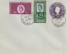 1961 Parliament, Pale Blue 3d Postal Stationery FDC, Polegate Sussex cds