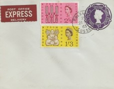 1963 Freedom from Hunger, Express Delivery Pale Blue 3d Post Stationery FDC, Polegate Sussex cds