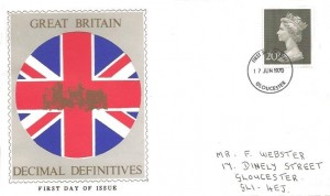 1970 QEII Definitive Issue, Union Jack Illustrated FDC, 20p Only, Gloucester FDI