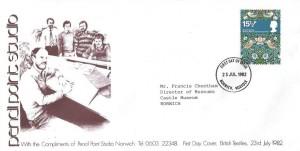 1982 British Textiles, Pencil Point Studio Norwich FDC, 15½p William Morris Strawberry Thief stamp only, Norwich Norfolk FDI