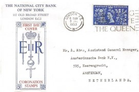 1953 Coronation, The National City Bank Of New York FDC, 4d stamp only, God Save the Queen London FS Slogan