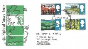 1966 British Landscapes, Philart FDC, Coleraine Londonderry FDI
