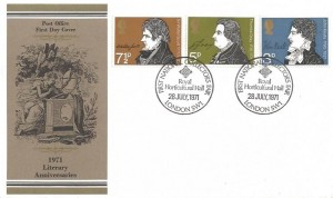 1971 Literary Anniversaries, Post Office FDC, First National Collectors Fair Royal Horticultural Hall London SW1 H/S