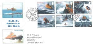 2008 SOS Rescue at Sea, A F Trenery Privately Produced FDC, First Day of Issue Poole Dorset H/S
