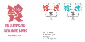 2012 Olympic Emblems, A F Trenery Privately Produced FDC, First Day of Issue Sennen Penzance Cornwall H/S