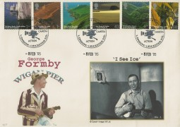 2005 South West England, Cambridge Official George Formby Wigan Pier FDC, British Films Camera Action Leicester Sq. London H/S