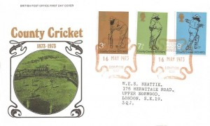 1973 County Cricket Centenary, Post Office FDC, National Postal Museum London EC1 Maltese Cross H/S