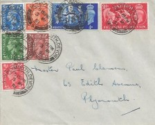 1951 Festival of Britain, Plain FDC, also with low value definitive Issue ½d, 1d, 1½d, 2d, 2½d, Plymouth Devon cds