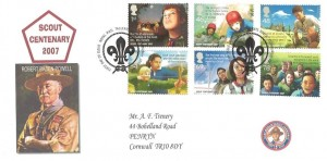 2007 Scouts, A F Trenery Privately Produced FDC, First Day of Issue Royal Mail Tallents House Edinburgh H/S